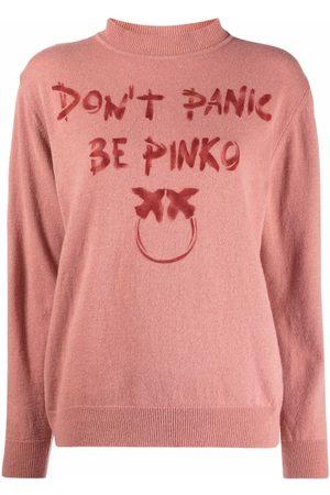 Pinko Dames Gebreide truien - Slogan-print fine-knit jumper