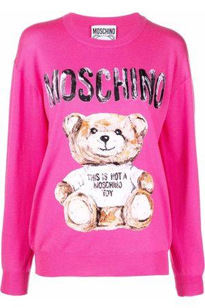 Moschino Dames Gebreide truien - Teddy Bear-print crew-neck jumper