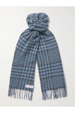 Mr P. Heren Sjaals - Fringed Houndstooth Merino Wool and Cashmere-Blend Scarf