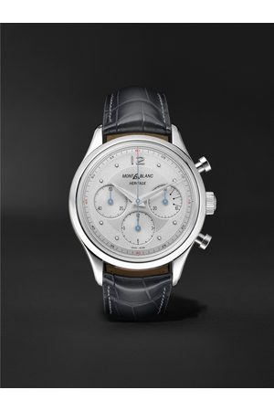 Montblanc Heren Horloges - Heritage Automatic Chronograph 41mm Stainless Steel and Alligator Watch, Ref. No. 128670