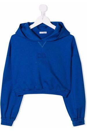 Dolce & Gabbana Meisjes Hoodies - Logo-debossed cropped hoodie