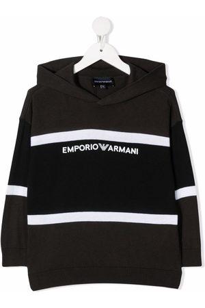 Emporio Armani Logo-print knitted hoodie