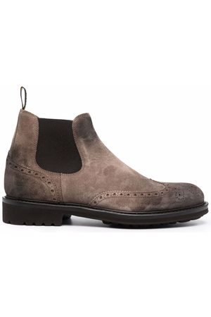 Doucal's Brogue-detail suede ankle boots