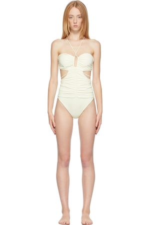 MAGDA BUTRYM Off-White Strappy Cut-Out Bandeau One-Piece Swimsuit