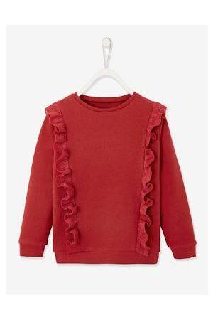 Vertbaudet Meisjes Sweaters - Meisjessweater met ruches en Engels borduurwerk purper