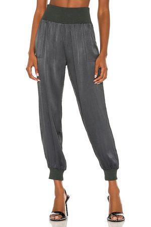 Bobi Dames Joggingbroeken - BLACK Sleek Textured Pant in