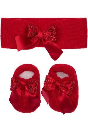 La Perla Wool Blend Knit Headband & Socks W/bows