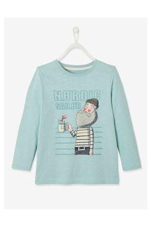 Vertbaudet Nordic Sailor jongens-T-shirt met Oeko-Tex® matrozenmotief effen lichtblauw met versierin