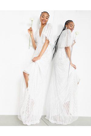 ASOS Emilia pearl embellished wedding dress with cutwork details-White