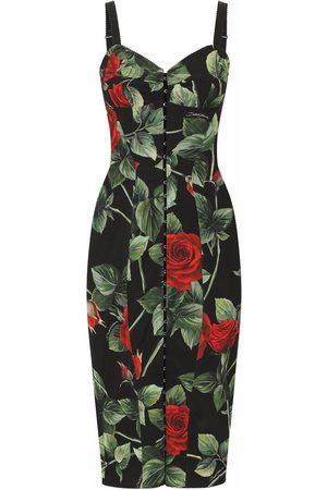 Dolce & Gabbana Dames Feestjurken - Rose-print mid-length dress