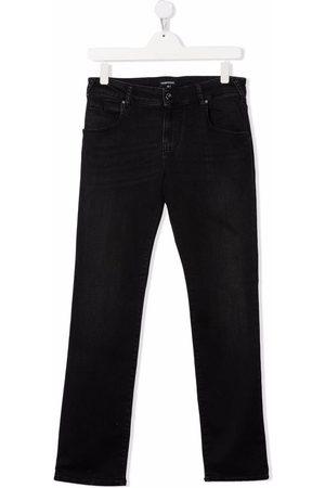 Emporio Armani Straight - Logo-plaque straight-leg jeans