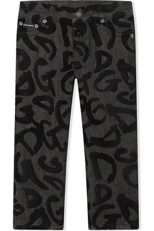 Dolce & Gabbana Logo-graffiti straight jeans