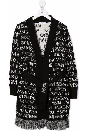 Msgm Intarsia-knit frayed cardigan