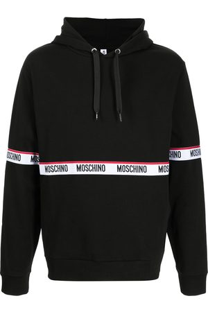Moschino Logo-tape cotton hoodie