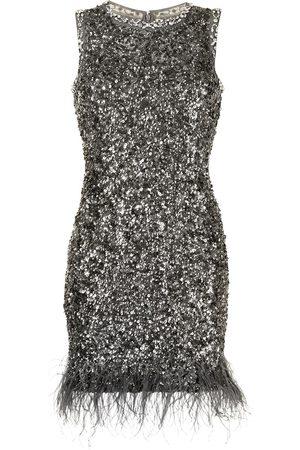 RACHEL GILBERT Sequin-embellished feather mini dress