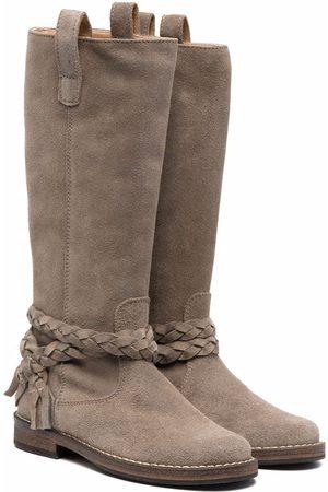 PèPè Meisjes Hoge laarzen - Knee-length braided suede boots