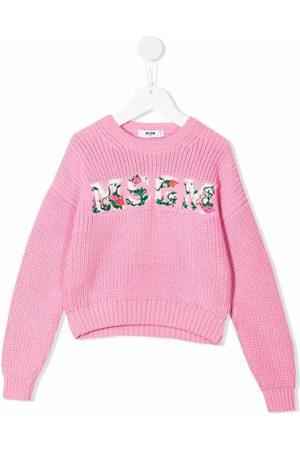 Msgm Floral-embroidered logo jumper