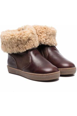 PèPè Shearling-trim leather boots