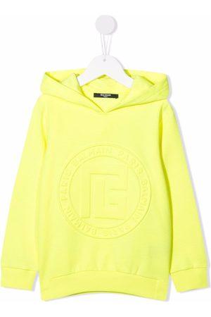 Balmain Meisjes Hoodies - Logo-embossed cotton hoodie