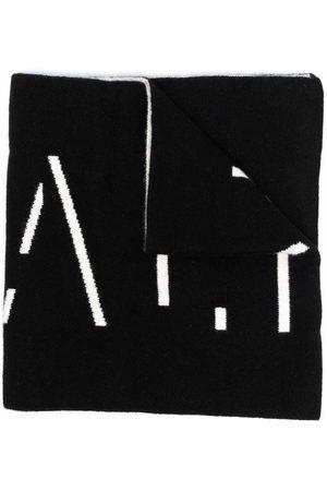 Balmain Intarsia-knit logo cashmere scarf