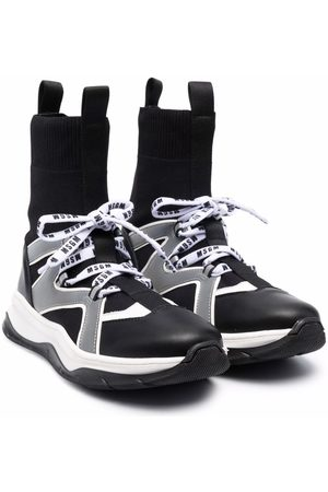 Msgm TEEN lace-up sock-detail sneakers