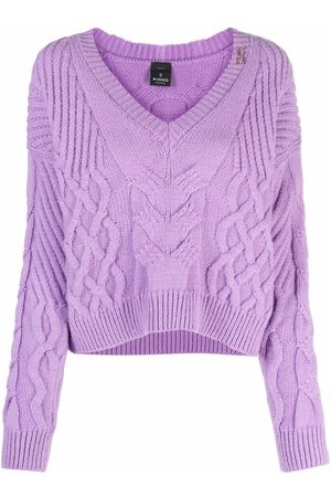 Pinko Dames Gebreide truien - Cable-knit V-neck jumper