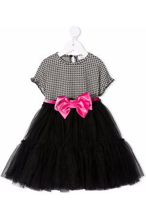 MONNALISA Houndstooth bow-waist dress
