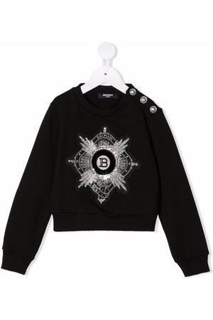 Balmain Embroidered logo cropped sweatshirt