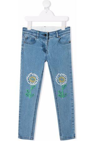 Stella McCartney Meisjes Slim - Floral-embroidered slim-fit jeans