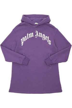 Palm Angels Logo Print Hooded Cotton Sweat Dress