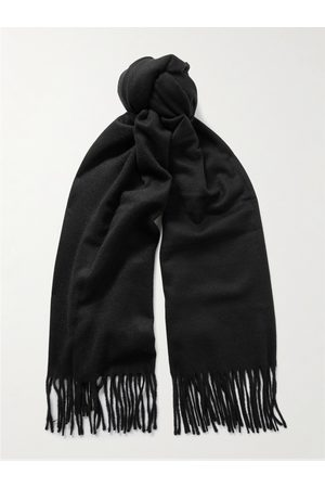 Acne Studios Heren Sjaals - Logo-Detailed Fringed Cashmere Scarf