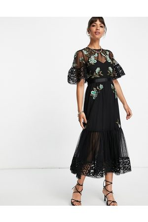 French Connection Dames Feestjurken - Embroidered layered midi dress in black
