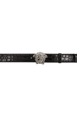 VERSACE Black & Silver Croc 'La Medusa' Belt