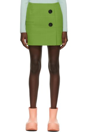 Nina Ricci Dames Green Georgette Check Double-Buttoned Miniskirt