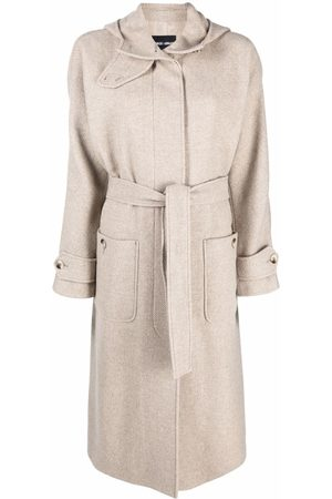 Armani Dames Wollen jassen - Virgin wool-blend hooded coat