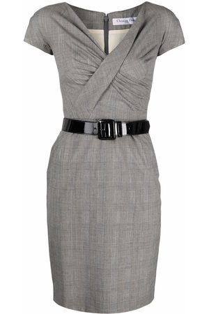 Dior 2010s pre-owned plaid-check belted fitted dress