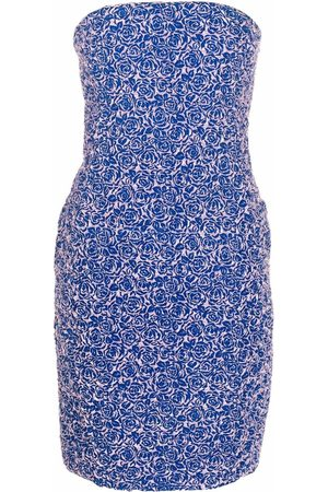 Dior 2010s pre-owned floral-pattern strapless fitted dress