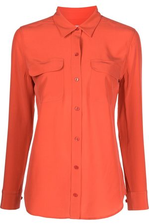 Equipment Dames T-shirts - Slim-cut long-sleeved silk shirt