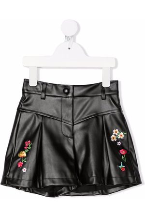 MONNALISA Meisjes Shorts - Faux-leather floral-embroidered shorts