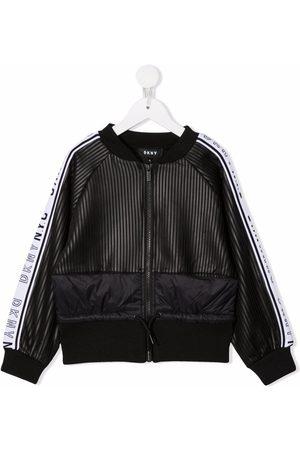 Dkny Kids Panelled striped bomber jacket