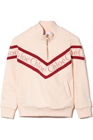 Chloé Meisjes Sweaters - Lace-logo high-neck sweatshirt