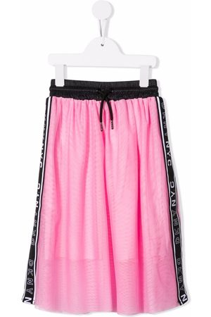 DKNY Layered logo stripe midi skirt