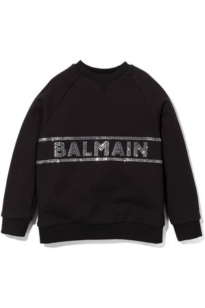 Balmain Meisjes Sweaters - Rhinestone logo crew neck sweatshirt