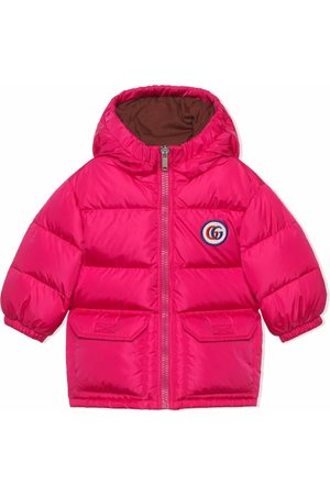 Gucci Padded logo-patch hooded coat