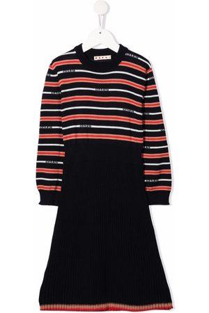 Marni Meisjes Jurken - Striped logo-knit dress