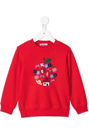 Familiar Embroidered motif cotton sweatshirt