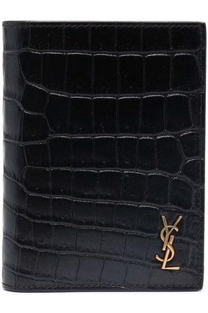 Saint Laurent Logo-plaque crocodile-embossed wallet