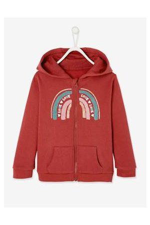 Vertbaudet Sportieve hoodie met rits en regenboogpatroon effen donkerroze met versierin