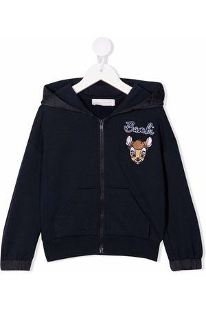 MONNALISA Bambi-embroiderd zip-up hoodie