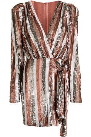 RACHEL GILBERT Sequin-embellished striped mini dress